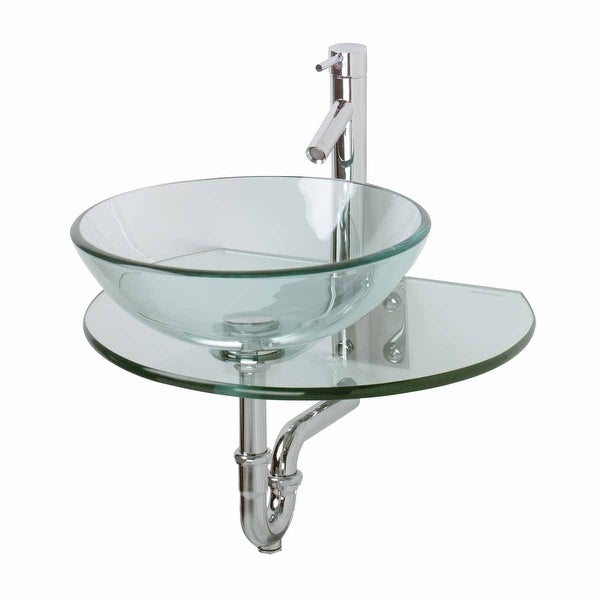 Renovators Supply Clear Tempered Wall Mount Glass Vessel Console Sink