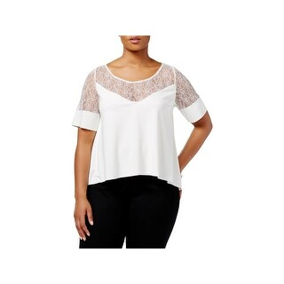 Whitespace Womens Plus Pullover Top Lace Inset V-Neck