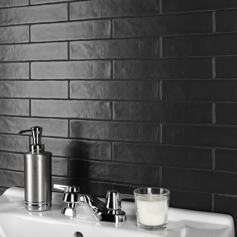 SomerTile Chester Matte Nero 2 in. x 10 in. Ceramic Wall Tile - 2'' x 10''