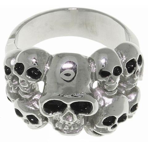 Stainless Steel Ten Skulls Ring - White