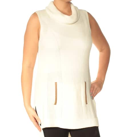 TOMMY HILFIGER Womens Ivory Sleeveless Cowl Neck Sweater Size: L