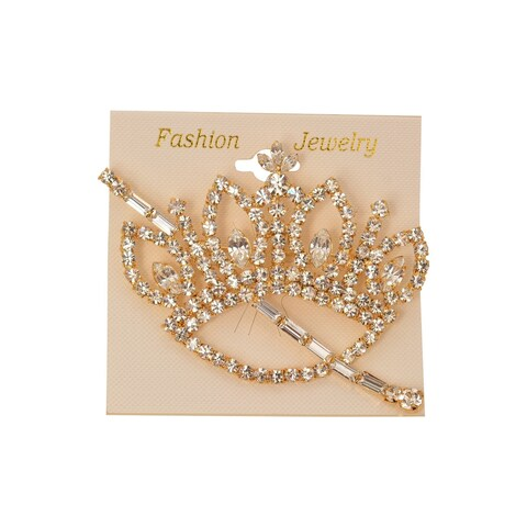 Girls Women Gold Crystals Tiara Elegant Brooch