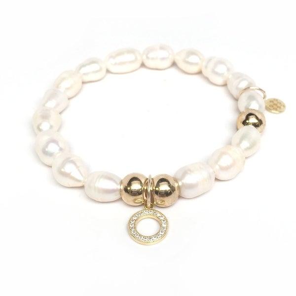 "Freshwater Pearl Circle Charm 7"" Bracelet"