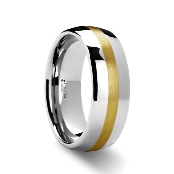 THORSTEN - CENTURION 14K Gold Inlaid Domed Tungsten Ring - 6mm