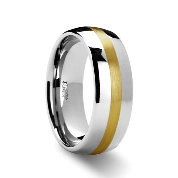 THORSTEN - CENTURION 14K Gold Inlaid Domed Tungsten Ring