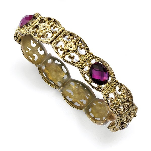 Brass Purple Acrylic Stone Stretch Bracelet