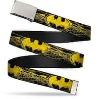 Blank Chrome  Buckle Batman Shield Close Up Sketch Black Yellow Webbing Web Belt