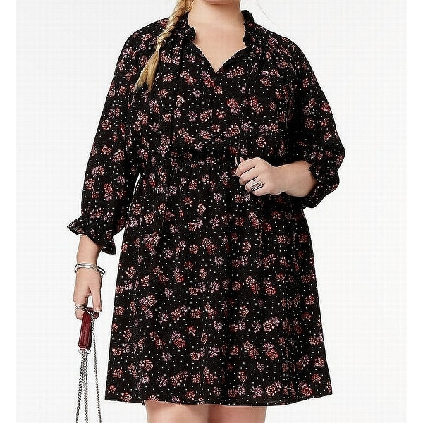 Love Squared Black Womens Size 3X Plus Floral Print A-Line Dress