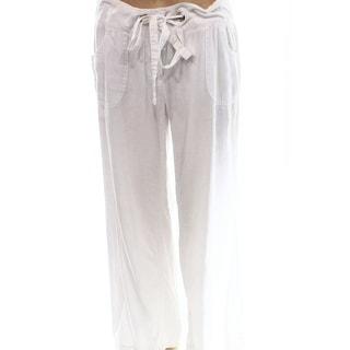 INC NEW White Drawstring Women's Size 6X28 Wide-Leg Linen-Blend Pants