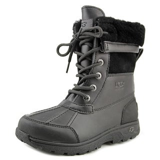 Ugg Australia K Butte II Youth Round Toe Leather Black Snow Boot
