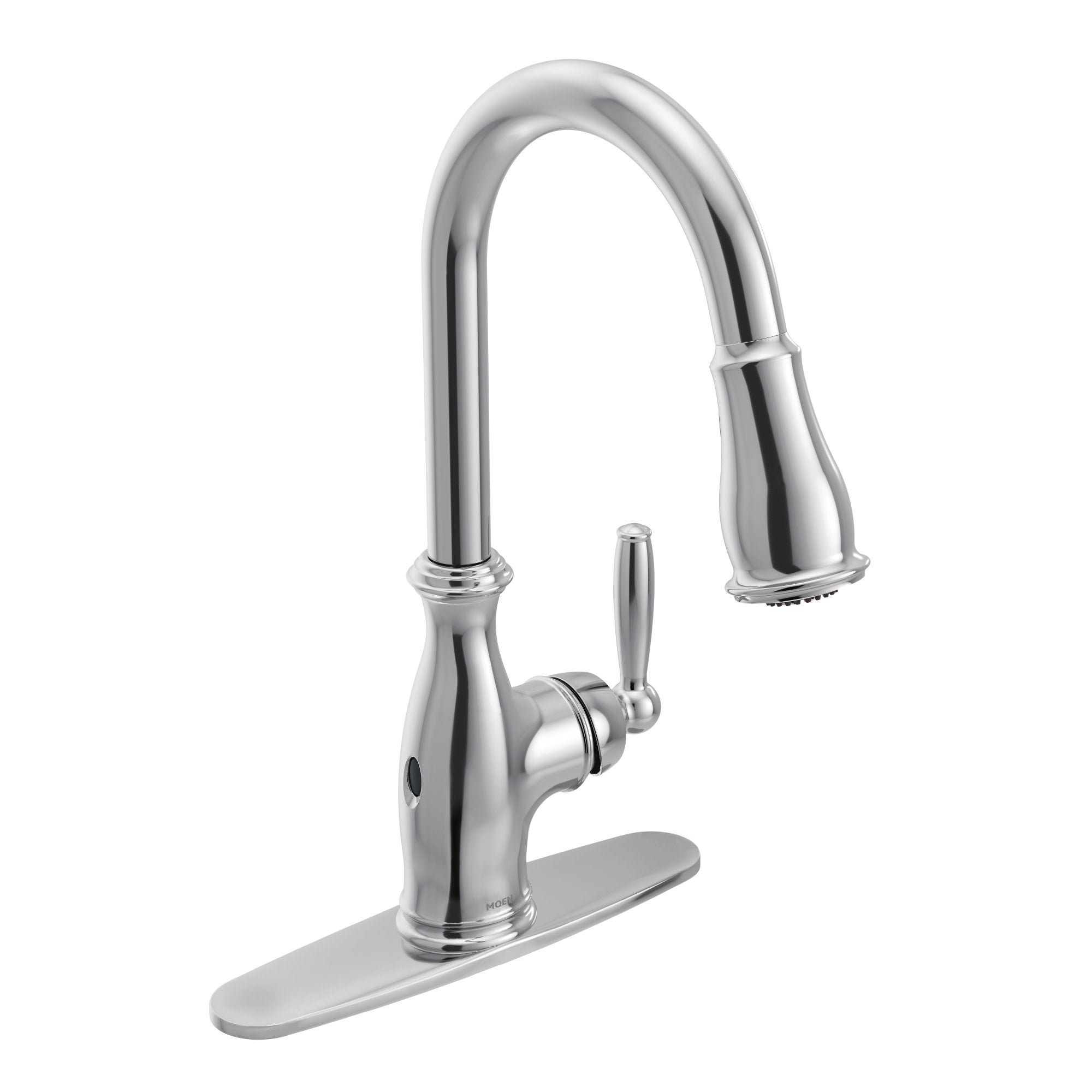 Moen 7185EW Brantford 1.5 GPM Single Hole Pull Down Kitchen Faucet with  Duralast, Duralock, MotionSense, PowerClean, and Reflex