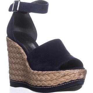 Stuart Weitzman Sohojute Platform Wedge Sandals, Nice Blue Suede