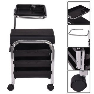 Costway Black Pedicure Manicure Nail Cart Trolley Stool Chair Salon SPA With Shelves