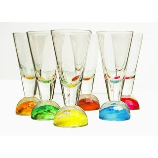 Palais Glassware Elegant Clear 2 Oz. Shot Glass with Multicolored Ball Base - Set of 6 Half Ball Base.