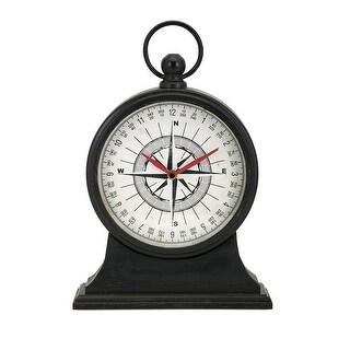 "15"" Maritime Vintage Black Compass Design Decorative Iron Table Clock"