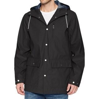 IZOD NEW Black Mens Size Medium M Waterproof Rainwear Wind Slick Jacket
