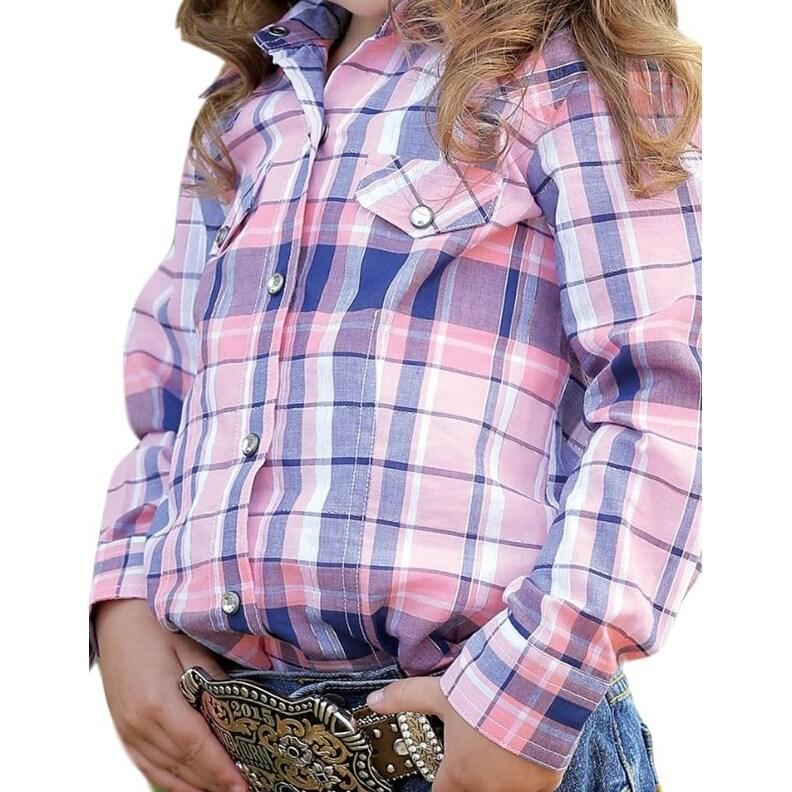 119ee19b Cruel Girl Western Shirt Girls Infants L/S Plaid Snap Coral CTW3212001