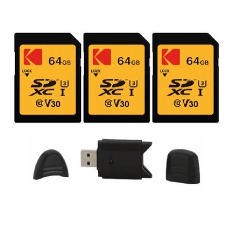 Kodak SD 64GB UHS-I U3 V30 Ultra (95MB/s Read, 85MB/s write) - 3 Pack - Yellow