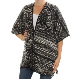 Womens Black Printed Kimono Sleeve V Neck Tunic Sweater Size ONE SIZE
