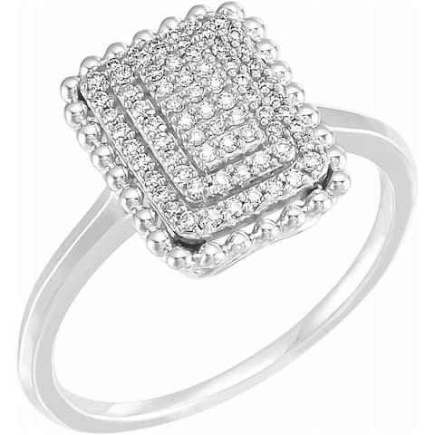 14K White Gold 1/5 Carat Diamond Rectangle Cluster Ring for Women, Size - 7