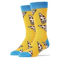 Pizza Party Men's Crew Socks - Yellow