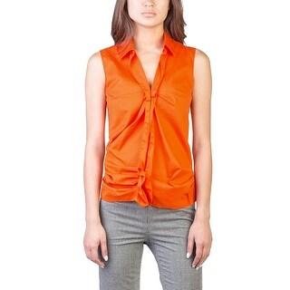 Prada Women's Cotton Nylon Blend Ruffled Blouse Shirt Orange - 6