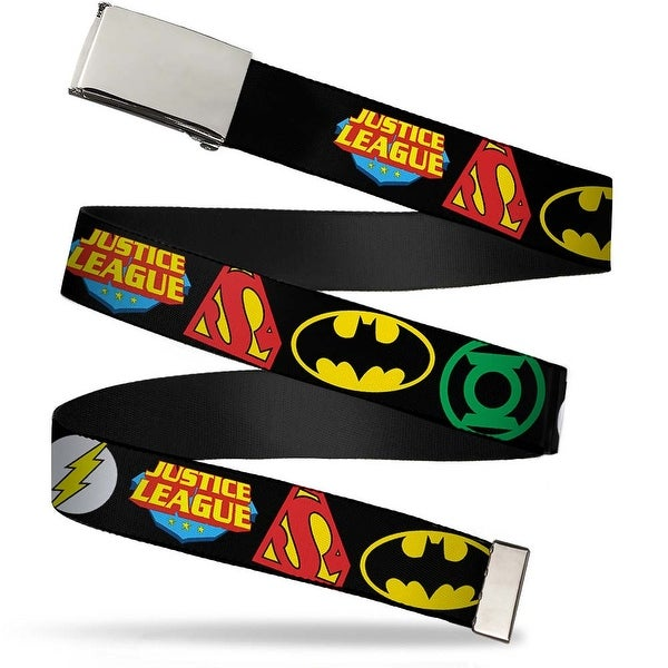 Blank Chrome Buckle Justice League Superhero Logos Close Up Black Web Belt