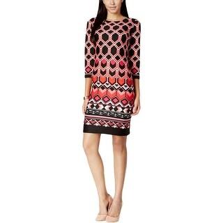 Nine West Womens Wear to Work Dress Geometric Print 3/4 Sleeves