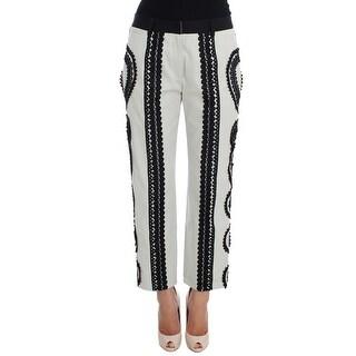 Dolce & Gabbana Black White Torero Stretch Capris Pants - it36-xs