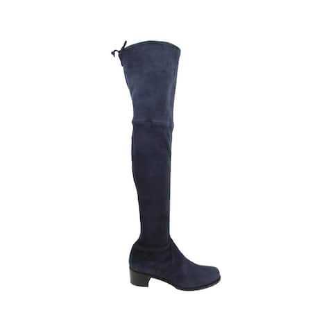 Stuart Weitzman Women's Midland Nice Blue Stretch Suede Knee High Boot (5.5 M) - 5.5 M