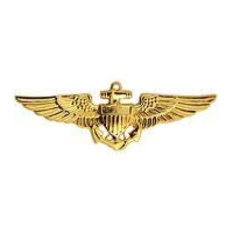 US Military Lapel Pin Wing-USN/USMC, Aviator (Med) - 1-1/4 by 1/2 inches