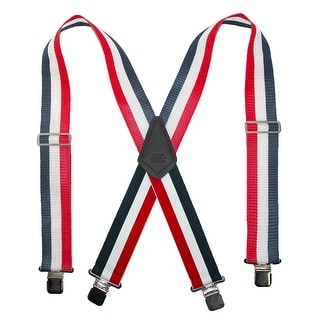 CTM® Men's Big & Tall Non-Elasticized Clip End Work Suspenders - red, white, and navy stripe - One Size