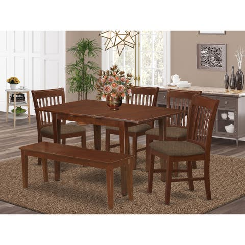 6-piece Dining Set - Kitchen Table and 4 Chairs and Dining Bench in Mahogany Finish