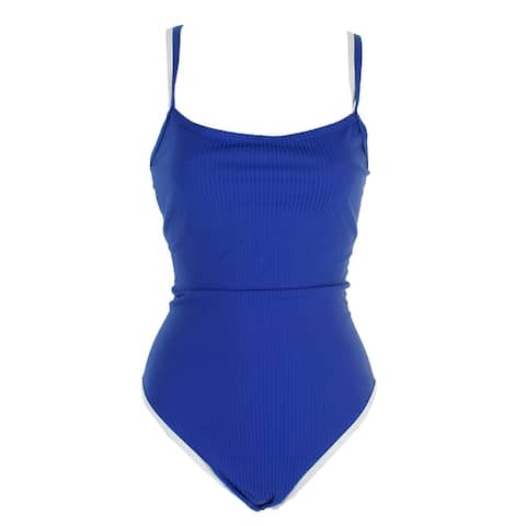 Nautica Pacfic Blue Layered-Look Textured One-Piece Swimsuit XL