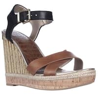 Sam Edelman Clay Wedge Ankle Strap Sandals, Saddle/Black - 10 US / 41.5 EU