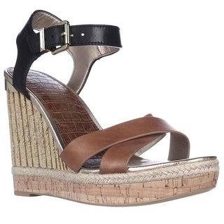Sam Edelman Clay Wedge Ankle Strap Sandals - Saddle/Black