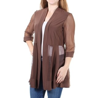 Womens Brown 3/4 Sleeve Open Casual Top Size 10