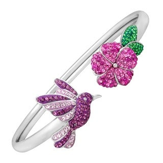 Crystaluxe Hummingbird Bangle Bracelet with Multi-Color Swarovski Elements Crystals in Sterling Silver - Pink
