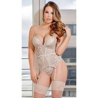 Plus Size Nude Fantasies Corset Set - Queen Size