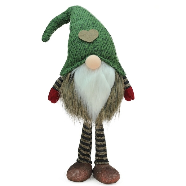 "19.5"" Green and Brown Striped ""Felix"" Standing Chubby Santa Gnome Table Top Christmas Figure"