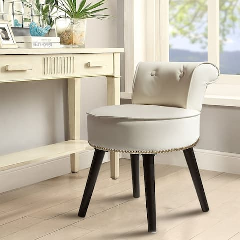 Veikous Vanity Stool Chair Makeup with Low Back, White