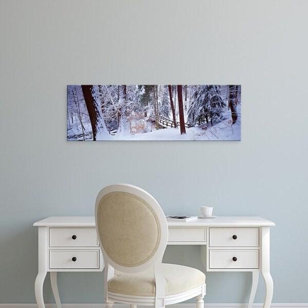 Easy Art Prints Panoramic Images's 'Winter footbridge Cleveland Metro Parks, Cleveland OH USA' Premium Canvas Art