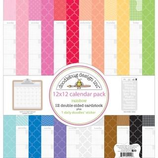 "Doodlebug Daily Doodles Calendar Paper Pack 12""X12""-Rainbow"
