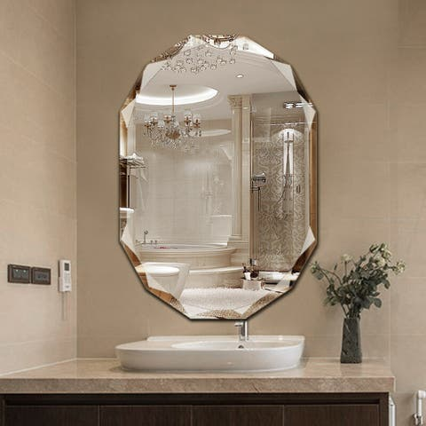 Single Beveled Edge Bath Wall Vanity Mirror