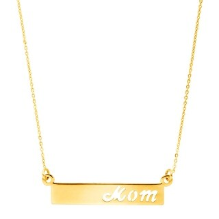 Just Gold 'Mom' Cutout Bar Necklace in 10K Gold - Yellow