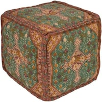 "18"" Brown and Green Traditional Designed Woven Square Indoor Pouf Ottoman"