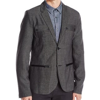 Kenneth Cole Reaction NEW Black Mens Small S Chambray Two Button Blazer