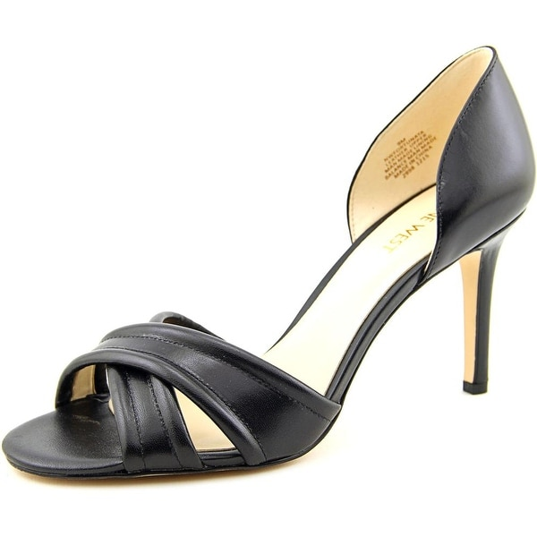 Nine West Fortunata Women Open-Toe Leather Black Heels