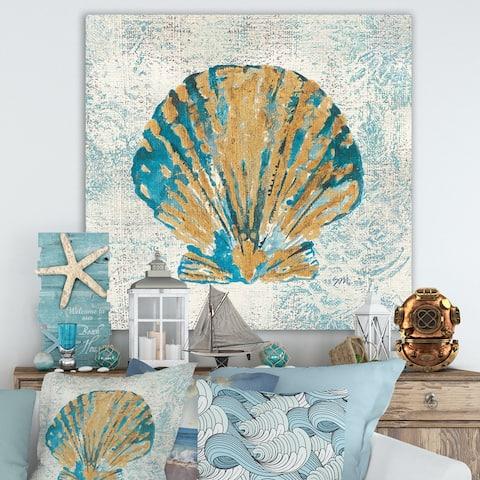 Designart 'Coastal Pastel seashells I' Vintage Nautical Gallery-wrapped Canvas