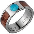 Titanium Wedding Band With Koa Wood & Circular Turquoise Inlay 8mm - Thumbnail 0